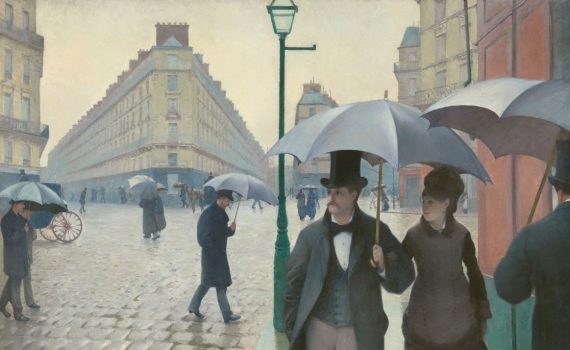 Gustave Caillebotte, Paris Street; Rainy Day, 1877, oil on canvas 83-1/2 x 108-3/4 inches (212.2 x 276.2 cm) (The Art Institute of Chicago)