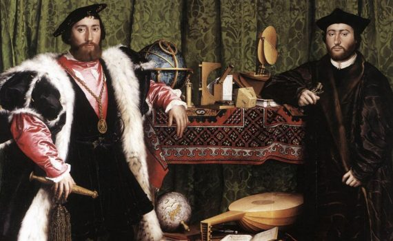 Hans Holbein the Younger, The Ambassadors, 1533, oil on oak, 207 x 209.5 cm (The National Gallery, London)