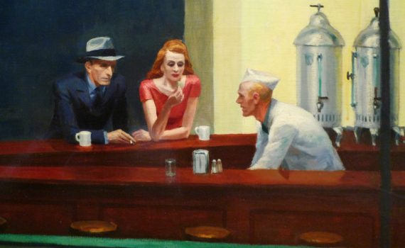 Edward Hopper, Nighthawks, 1942, oil on canvas, 84.1 x 152.4 cm (33-1/8 x 60 inches) (The Art Institute of Chicago)