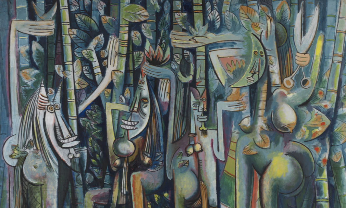 """Wilfredo Lam, The Jungle, 1942-43, gouache on paper mounted on canvas, 94-1/4 x 90-1/2"""" / 239.4 x 229.9 cm (The Museum of Modern Art, New York)"""