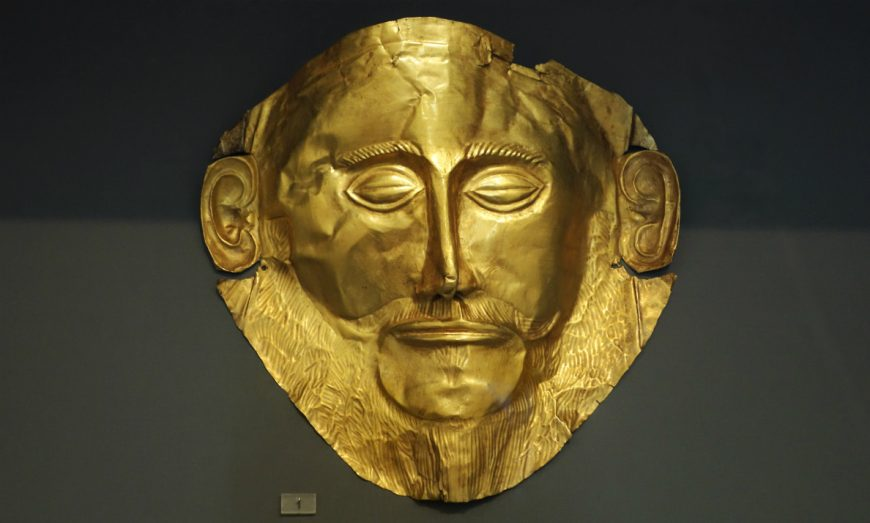 Mask of Agamemnon, from shaft grave V, grave circle A, Mycenae c.1550-1500 B.C.E., gold, 12″ / 35 cm (National Archaeological Museum, Athens)