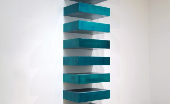 "Donald Judd, Untitled (Stack), 1967, lacquer on galvanized iron, twelve units, each 22.8 x 101.6 x 78.7 cm, installed vertically with 9"" (22.8 cm) intervals (MoMA)"