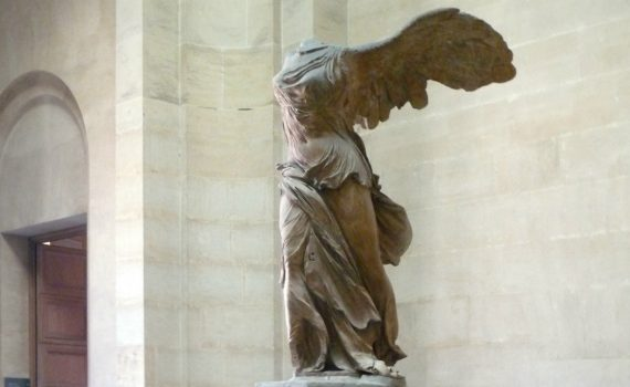 Nike (Winged Victory) of Samothrace, Lartos marble (ship) and Parian marble (figure), c. 190 B.C.E. 3.28 m high, Hellenistic Period (Musée du Louvre, Paris)