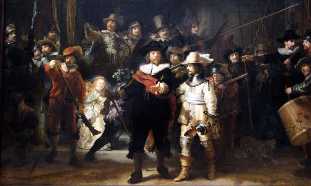 Rembrandt van Rijn, The Night Watch (Militia Company of District II under the Command of Captain Frans Banninck Cocq), 1642, oil on canvas, 379.5 x 453.5 cm (Rijksmuseum, Amsterdam)