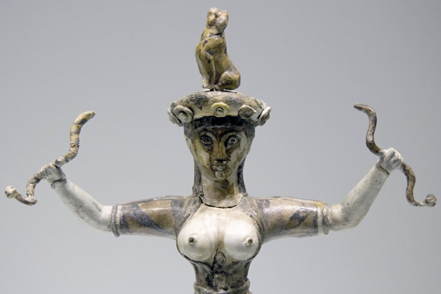 Snake Goddess from the palace at Knossos, c. 1600 B.C.E., majolica, 29.5 cm high (Archaeological Museum of Heraklion, photo: Zde, CC BY-SA 4.0)