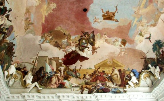 Ceiling (detail), Giambattista and Domenico Tiepolo, Apollo and the Continents, Residenz Staircase, completed in 1744
