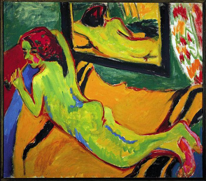 Ernst Ludwig Kirchner, Reclining Nude in Front of Mirror, 1909-1910, oil on canvas, 83.3 x 95.5 cm (Brücke-Museum, Berlin)