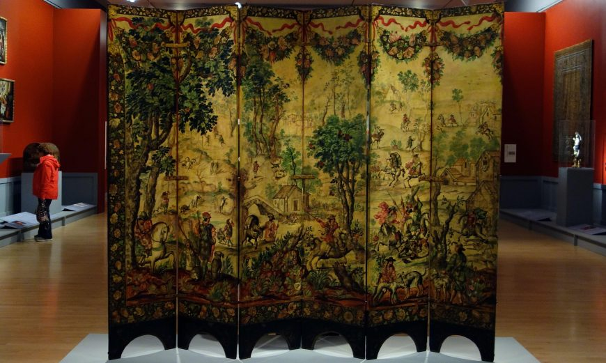 Folding Screen (biombo) with the Siege of Belgrade (front) and Hunting Scene (reverse), c. 1697-1701, Mexico, oil on wood, inlaid with mother-of-pearl, 229.9 x 275.8 cm (Brooklyn Museum)