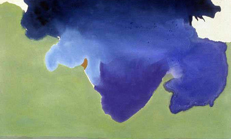 "Helen Frankenthaler, The Bay, 1963, acrylic on canvas, 6' 8-7/8"" x 6' 9-7/8"" (Detroit Institute of Arts)"