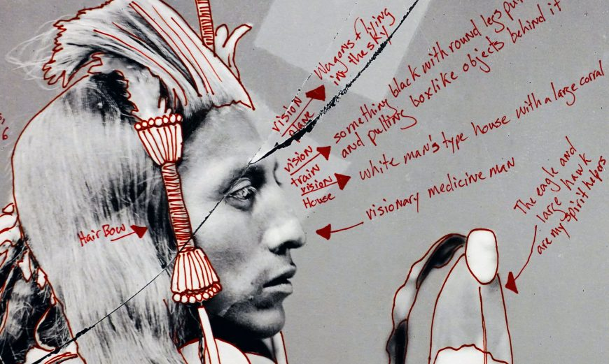 Wendy Red Star, 1880 Crow Peace Delegation, 2014, inkjet print and red ink on paper, 16 15/16 x 11 15/16 inches ©Wendy Red Star (Portland Art Museum)