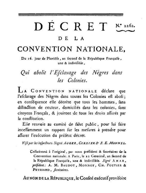 Official decree of 1794, abolishing slavery in the French colonies, from LivreLa Révolution française et l'abolition de l'esclavage, vol. 12, p. 55 (Bibliothèque nationale de France)