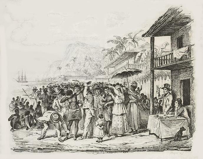 """Alcide Dessalines d' Orbigny, """"A Slave Auction, Martinique, c. 1826,"""" from Voyage pittoresque dans les deux Amériques (Paris, 1836), facing p. 14 (Bibliothèque nationale de France)"""