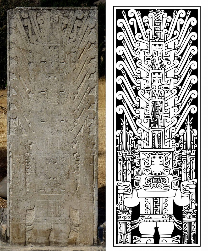 Left: the Raimondi Stele, c. 900-200 B.C.E., Chavín culture, Peru (Museo Nacional de Arqueología Antropología e Historia del Peru, photo: Taco Witte, CC BY 2.0). Right: Line drawing of the Raimondi Stele (source: Tomato356, CC BY-SA 3.0)