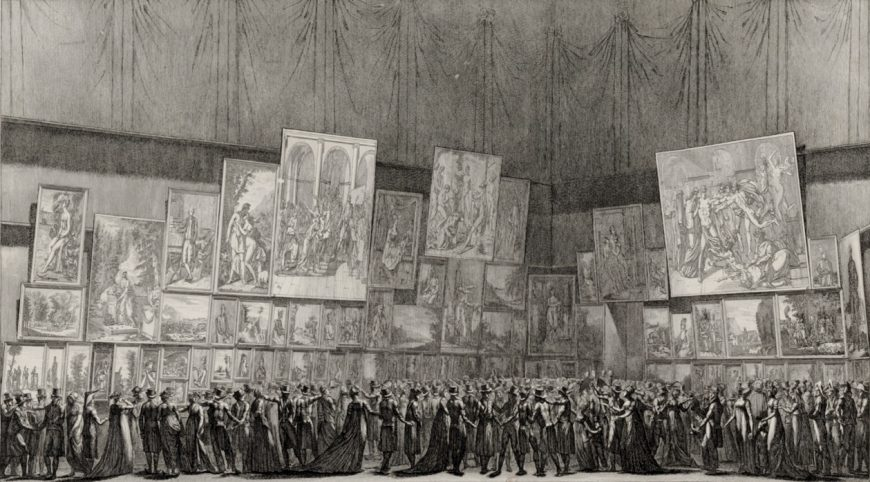 "Antoine Maxime Monsaldy, ""View of the paintings exhibited at the Museum Centrale des Arts in the Year VIII,"" 1800, print (Bibliothèque nationale de France)"