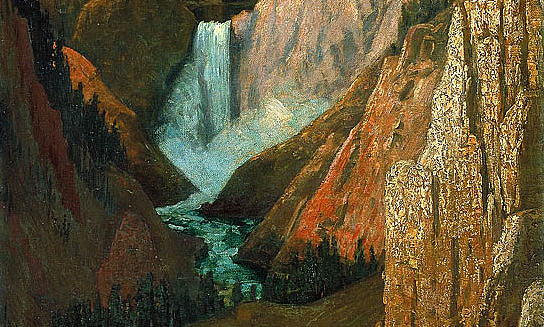 "Grafton Tyler Brown, View of the Lower Falls, Grand Canyon of the Yellowstone, 1890, oil on canvas, 30 1/4 x 20 1/8"" / 76.9 x 51.2 cm. (Smithsonian American Art Museum)"