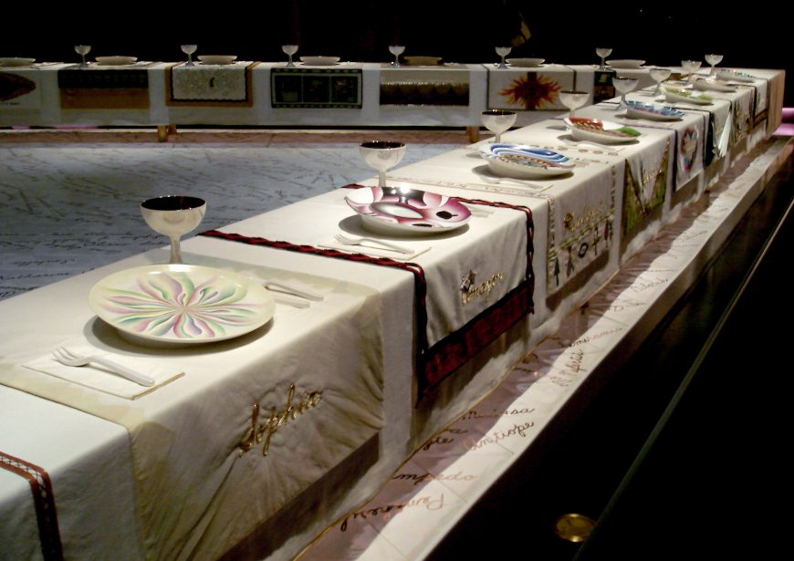 Judy Chicago, The Dinner Party, 1974–79, ceramic, porcelain, and textile, 1463 x 1463 cm (Brooklyn Museum)