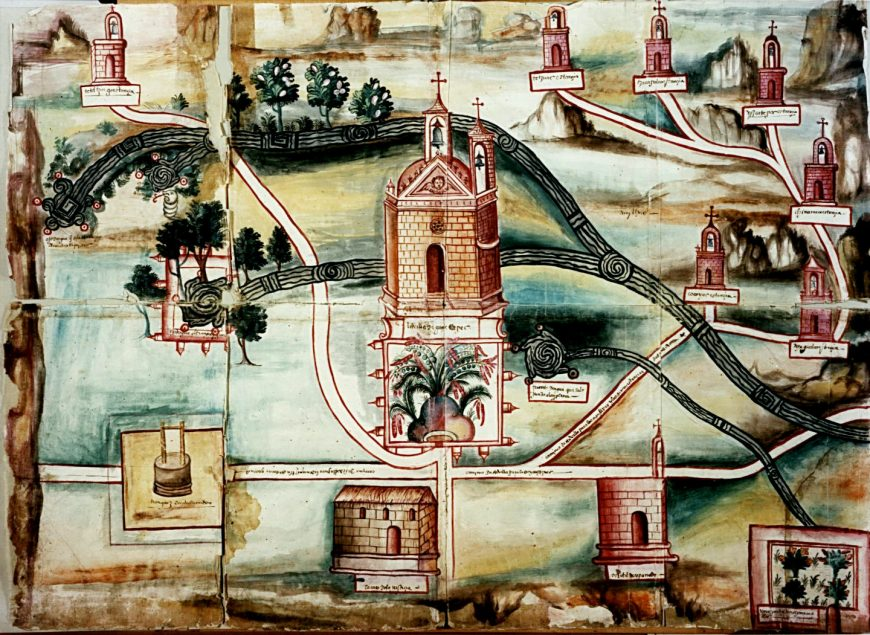 Map of Oaxtepec, September 24, 1580, ink and pigments on European paper, 62x85 cm ( Benson Latin American Collection, University of Texas at Austin)