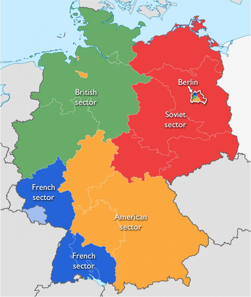 Map of post-WWII Germany divided between the Allied Powers (adapted by Dr. Naraelle Hohensee from WikiNight2, GNU Free Documentation License)