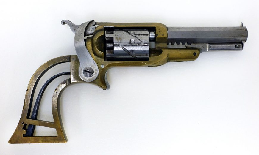 Elisha King Root for Samuel Colt, Experimental Pocket Pistol, Serial number 5, caliber .265 inches, barrel length 3 inches, overall length 7 inches, brass, steel, and iron, 1849-50 (Wadsworth Atheneum Museum of Art, Hartford, Bequest of Elizabeth Hart Jarvis Colt)
