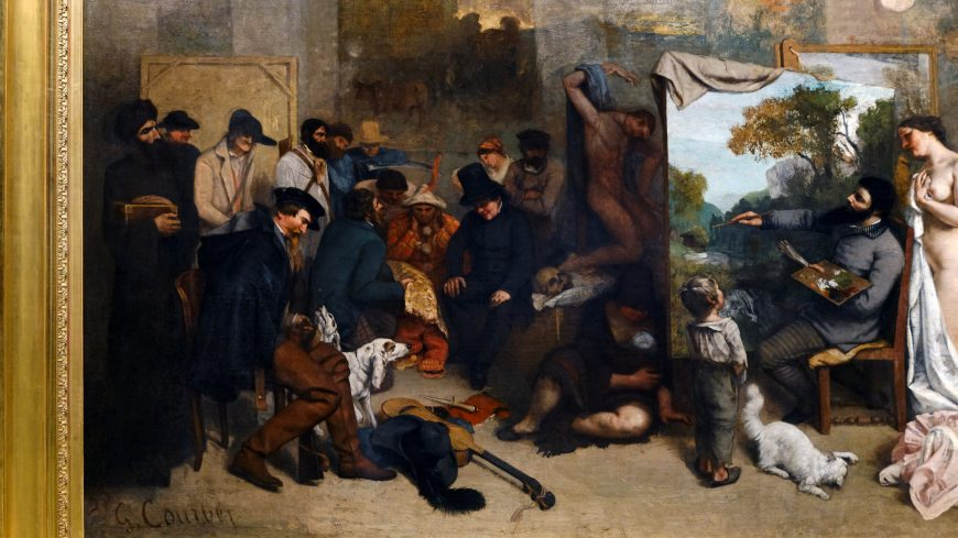 Gustave Courbet, The Painter's Studio: A Real Allegory Summing Up Seven Years of My Life as an Artist, oil on canvas, 361 x 598 cm (Musée d'Orsay)