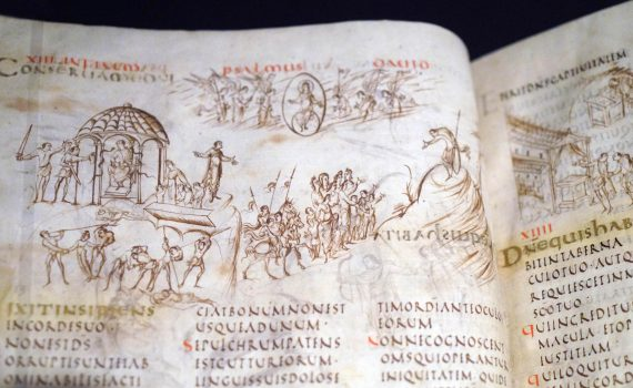The Utrecht Psalter, c. 825, Hautvilliers, near Reims, France, 380 x 310 mm (Universiteitsbibliotheek, Utrecht, MS 32, ff. 7v–8r), courtesy Universiteitsbibliothek, Utrecht