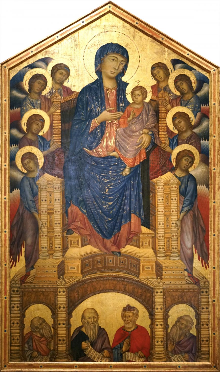 Cimabue, Santa Trinita Madonna and Child Enthroned, 1280-90, tempera on panel, 385 x 223 cm (Galleria degli Uffizi, Florence)