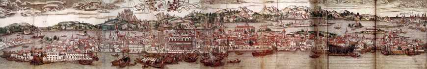 Map of Venice, 15th century; Page from the travelling guide of Bernhard of Breidenbach:Sanctae peregrinationes, illustrated and printed in Mainz by Erhard Reuwich, 11 February 1486 (Bibliotheque nationale de France)