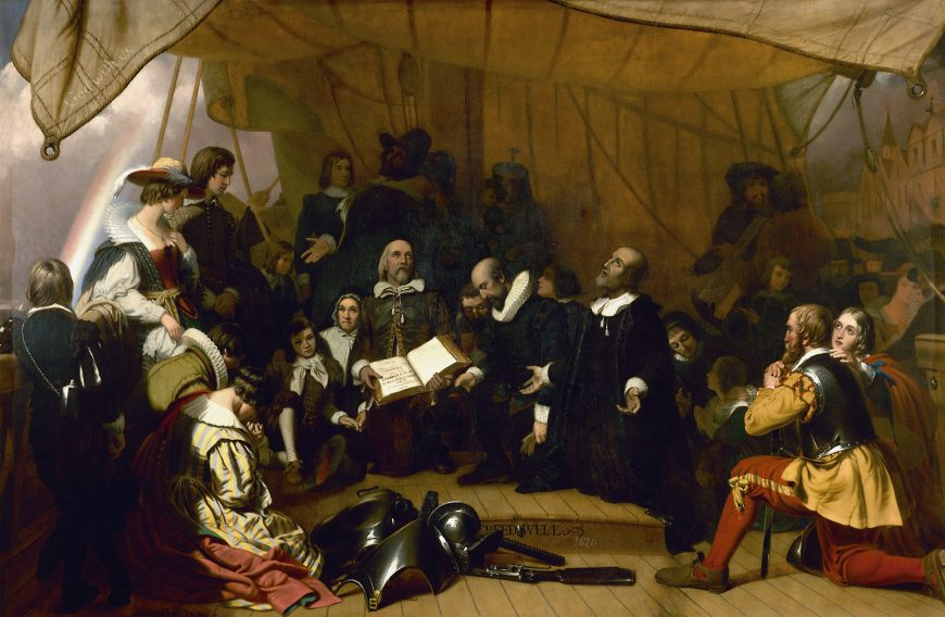 Robert W. Weir, Embarkation of the Pilgrims, 1844, oil on canvas, 548 cm x 365 cm (U.S. Capitol)