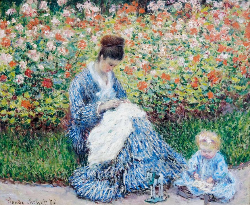 Claude Monet, Camille Monet and a Child in the Artist's Garden at Argenteuil, 1875, oil on canvas, 55.3 x 64.7 cm (Museum of Fine Arts, Boston)