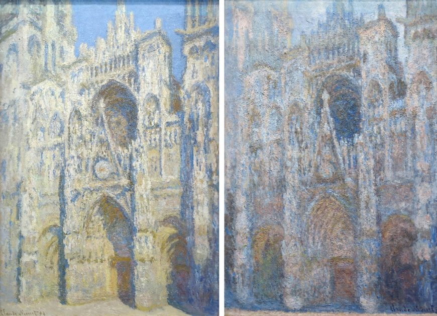 Left: Claude Monet, Rouen Cathedral (The Portal and the Tour d'Albane in full Sunlight) also called Harmony in Blue and Gold, painted 1893, dated 1894, oil on canvas, 107 x 73 cm (Musée d'Orsay); Right: Rouen Cathedral, Portal, Morning sun, 1893, oil on canvas, 92.2 x 63.0 (Musée d'Orsay)