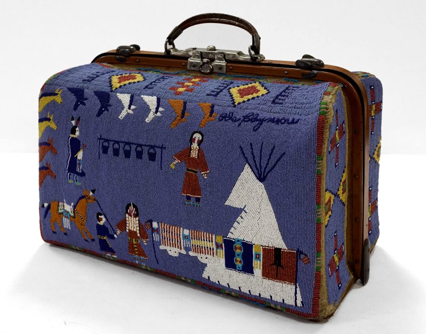 Nellie Two Bear Gates, Suitcase, 1880-1910, beads, hide, metal, oilcloth, thread (Minneapolis Institute of Art)