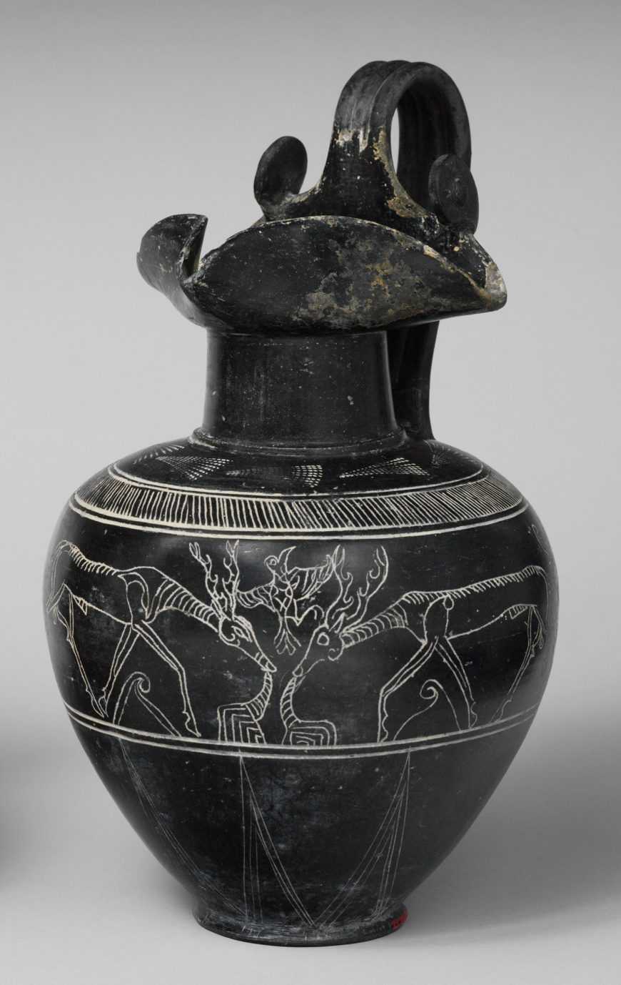 Terracotta trefoil oinochoe (jug), c. 625-600 B.C.E., Etruscan, terracotta, bucchero sottile, 11 3/16 in high (The Metropolitan Museum of Art)
