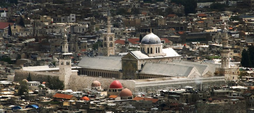 Distant view of the Umayyad Mosque, Damascus, photo: Bernard Gagnon, CC BY-SA 3.0
