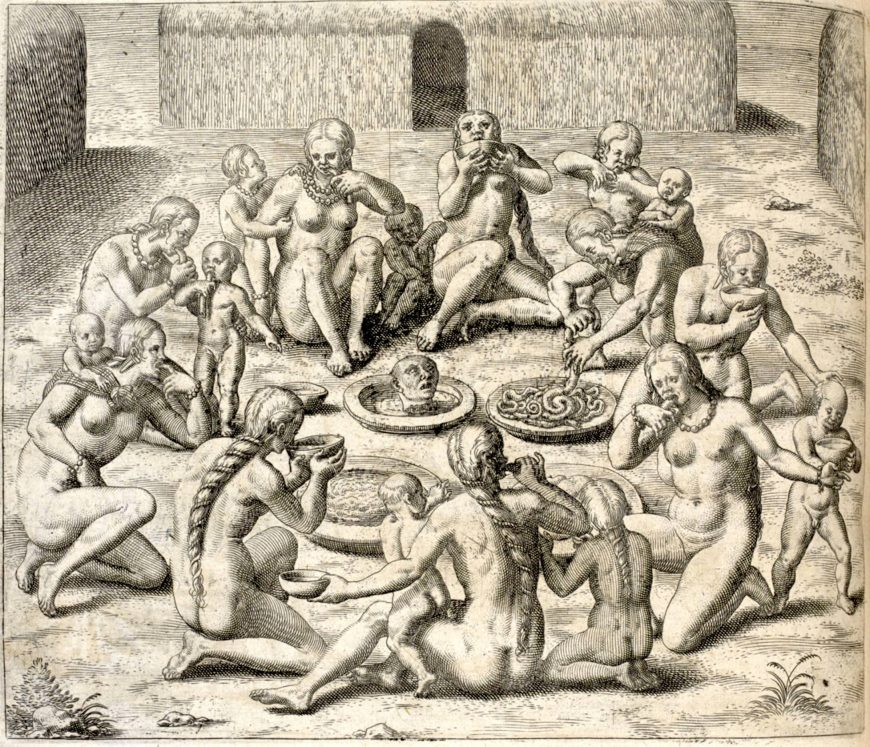 Theodor de Bry, engraving depicting cannibalism in Brazil for  volume 3 of Collected travels in the east Indies and west Indies which reprinted Hans Staden's account of his experiences in Brazil, 1594 (British Library)