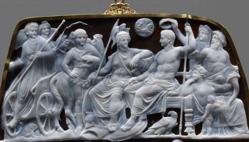 Upper register (detail), Dioskourides, Gemma Augustea, 9 – 12 C.E., 19 x 23 cm, double-layered sardonyx with gold, gold-plated silver (Kunsthistorisches Museum Vienna)