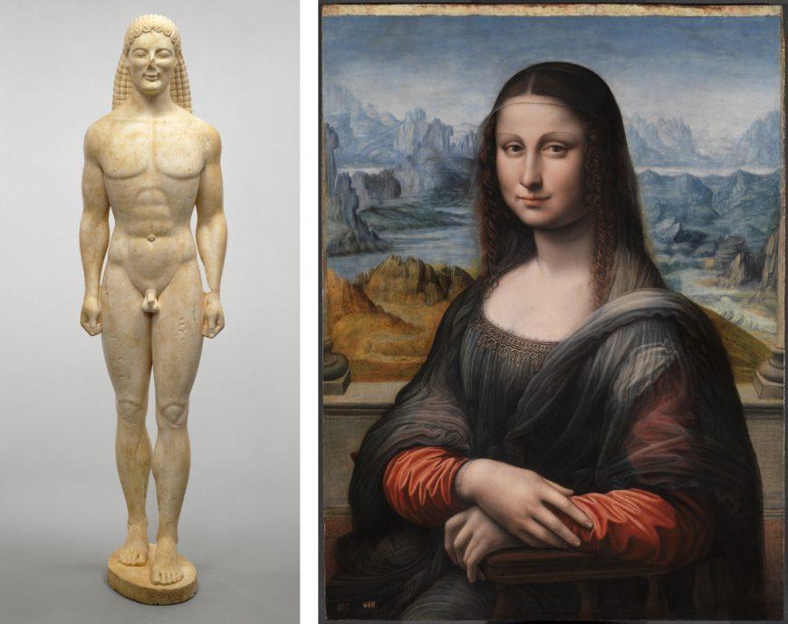 Left: Kouros, c. 530 B.C.E. 206.1 x 54.6 x 51 cm (The J. Paul Getty Museum, CC BY 4.0); right: Apprentice of Leonardo da Vinci, copy of the Mona Lisa, 1503-16, oil on panel, 76.3 x 57 cm (Prado)