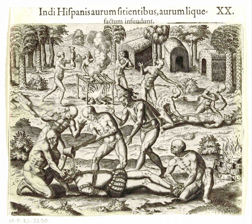 Theodor de Bry, Indians pour liquid gold into the mouth of a Spaniard, 1594