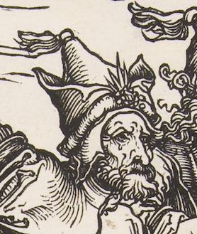 Detail, Albrecht Dürer, The Four Horsemen, from The Apocalypse,1498, woodcut, 38.7 x 27.9 cm (The Metropolitan Museum of Art)