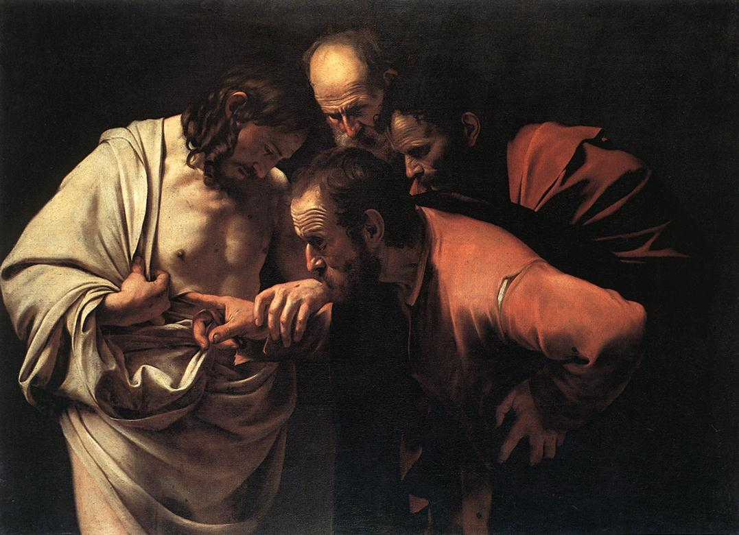 Caravaggio, The Incredulity of Saint Thomas, c. 1601-02, oil on canvas, 107 x 146 cm (Sanssouci Picture Gallery)