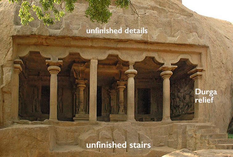Exterior view of the Mahishasuramardini Mandapa, Mamallapuram, Tamil Nadu, India, c. 7th century, granite (photo: Baldiri CC BY-SA 3.0)