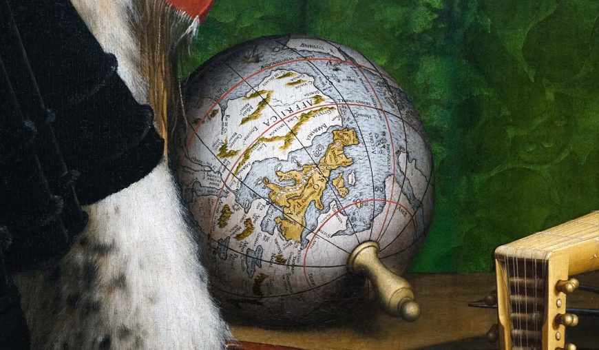 Globe (detail), Anamorphic skull seen at angle, Hans Holbein the Younger, The Ambassadors, 1533, oil on oak, 207 x 209.5 cm (The National Gallery, London, photo: Steven Zucker, CC BY-NC-SA 4.0)