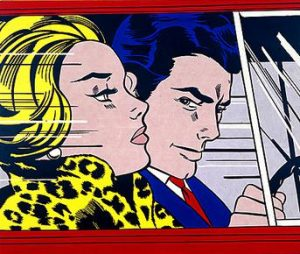 Roy Lichtenstein, In the Car, 1963, oil and magna on canvas, 172.00 x 203.50 cm (National Galleries, Scotland, © Estate of Roy Lichtenstein/DACS 2018)