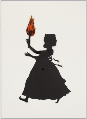 Kara Walker, Untitled (from Testimony), 2004, cut black paper with pencil, pressure-sensitive tape, metal fasteners, and synthetic polymer film on paperboard, 52.7 x 38.1 cm (The Museum of Modern Art)