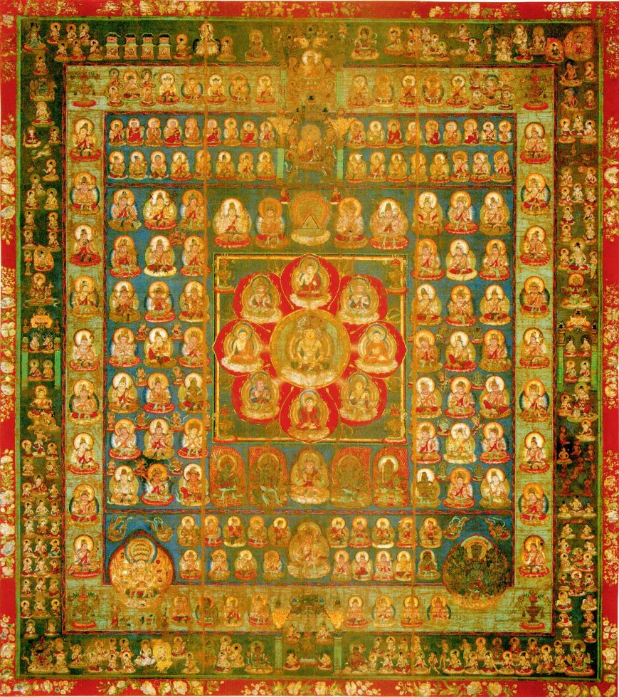 Garbhadhatu (Taizokai) Mandala (Womb World), mandala of Innate Reason and Original Enlightenment, Japan, Heian period (Tantric Buddhism), late 9th century, colors on silk (public domain)