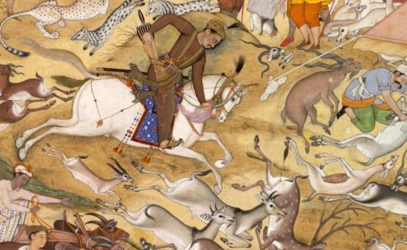 Thumbnail, Akbar on horseback, hunting animals within an enclosure, illustration from the Akbarnama, c. 1590-95, Mughal Empire, India, opaque watercolor and gold on paper, 32.1 x 18.8 cm (Victoria and Albert Museum, London)