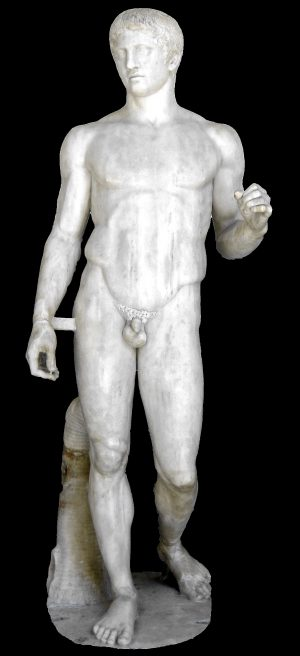 Polykleitos, Doryphoros (Spear-Bearer), c. 450-40 B.C.E., ancient Roman marble copy found in Pompeii of the lost bronze original, 211 cm (Archaeological Museum, Naples)