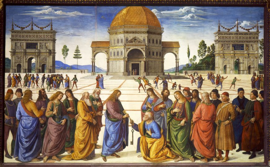 Perugino, Christ Giving the Keys of the Kingdom to St. Peter, Sistine Chapel, 1481-83, fresco, 10 feet 10 inches x 18 feet (Vatican, Rome)