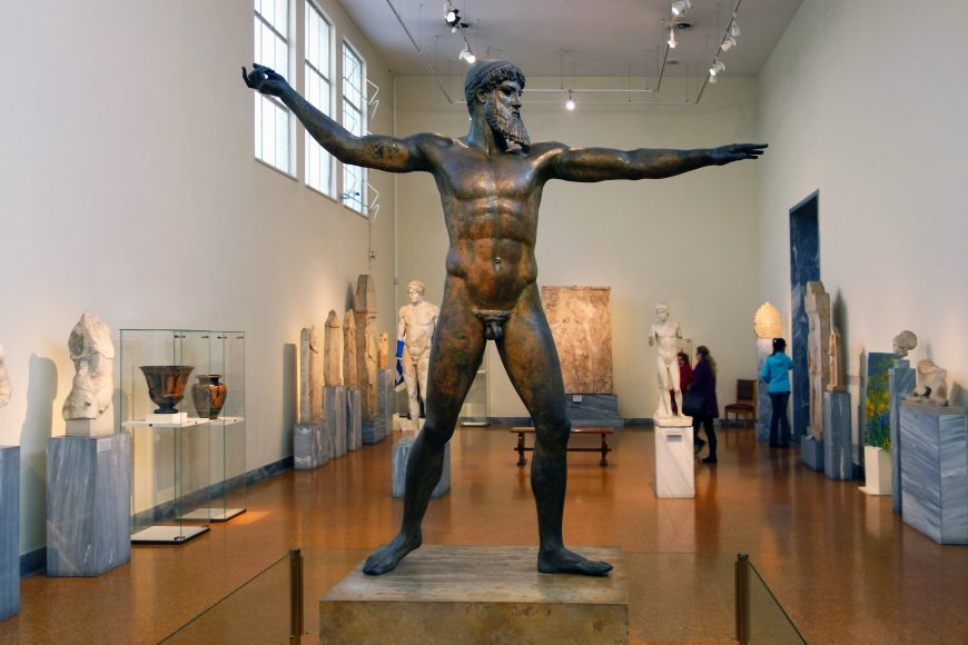 Artemision Zeus or Poseidon, c. 460 B.C.E., bronze, 2.09 m high, Early Classical (Severe Style), recovered from a shipwreck off Cape Artemision, Greece in 1928 (National Archaeological Museum, Athens)