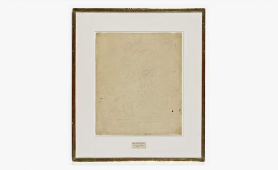 Robert Rauschenberg, Erased de Kooning Drawing, 1953, traces of drawing media on paper with label and gilded frame, 64.14 cm x 55.25 cm (© Robert Rauschenberg Foundation, SFMOMA)