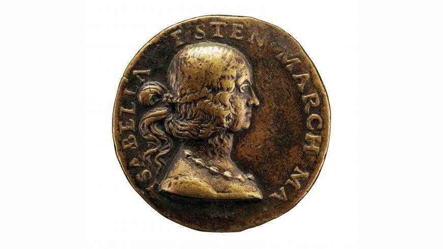 Giancristoforo Romano, Portrait medal of Isabella d'Este [obverse], 1507, bronze, .039 cm diameter (National Gallery of Art, Samuel H. Kress Collection)
